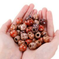 100Pcs Mixed Large Hole Ethnic Pattern Stringing Wood Beads Charms DIY Jewelry