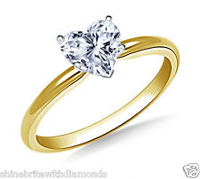 1 Ct Heart Shape Solitaire Engagement Wedding Promise Ring Solid 18K Yellow Gold