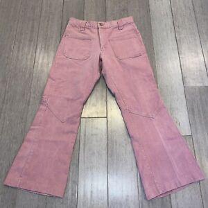 Vtg 60s 70s FARAH Bell Bottom Jeans Pants Mens 30 28 Flare Leg Disco Hippie Pink