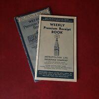 Vintage Metropolitan Life Insurance Weekly Premium Receipt Book 1930's 1940's