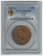 France - III Republic - 10 Centime 1897A MS64 RB - PCGS Certified