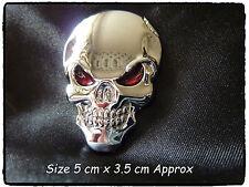 Coche De Metal Plata Metal Bici del motor Emblema Insignia Calcomanía Adhesivo 3D cráneo hueso