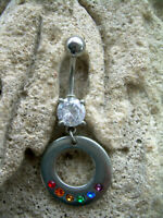 Wisconsin Whitewater Warhawks Silver Belly Button Navel Ring Customize Your Color Crystal Rhinestone Gems