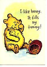 I Like Hunny-Honey Pot-Winnie the Pooh Bear Artwork-Disney Vintage Postcard