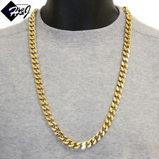 """30""""MEN's Stainless Steel HEAVY WIDE 11x5mm Gold Cuban Curb Chain Necklace*170g"""