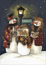REPRINT PICTURE older print PENNY LANE 3 SNOWMEN SINGING hill by light post 5x7