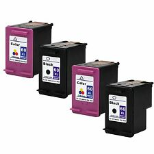 4 Pack HP 60 XL Black and Tri-Color High Yield Ink Cartridge Set CC641WN CC641WN