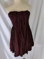 Kimchi Blue Strapless Dress Sz Medium Checkered Red Black Lined