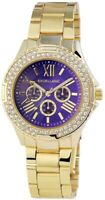 Excellanc Damenuhr Blau Gold Strass Chrono-Look Metall Armbanduhr X152103000110