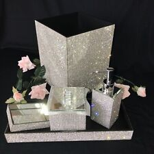 5pc Bella Lux RARE FULL Rhinestones Crystal Diamond Bath Bathroom Set Luxury