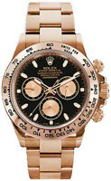 Rolex Daytona Chronograph Black Dial 18k Rose Gold Watch Box & Papers 116505