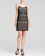 Alice & Olivia Black Nude Lace Emmie Slip S/L Dress $330 NWT M