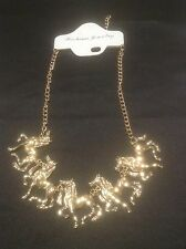 Vintage Style Gold Bib Necklace With Horses. Statement Necklace. Jewellery