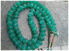 Exquisite Stunning Transparent EMERALD MELON CARVED BEADS NECKLACE 10mm