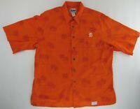 Reyn Spooner Mens Shirt XL Hawaiian Orange Palm Tree Detroit Tigers Baseball