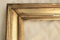 "1840 Antique Fits 13 X 16""  Lemon Gold Gilt Picture Frame Wood Gesso Fine Art"