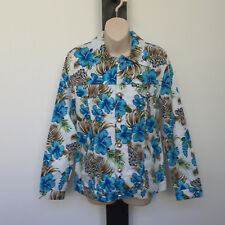 'DONNA' BNWT SIZE '12' WHITE,BLUE, GREEN & BROWN FLORAL CROPPED JACKET