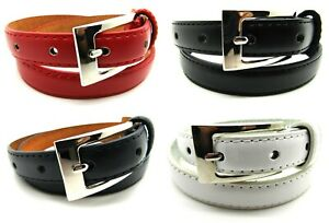 Lorenz Ladies New Quality Skinny Slim Genuine Leather Lined Belt Silver Buckle