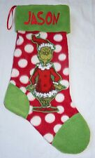 NEW Personalized Grinch Christmas Holiday Stocking Embroidered Name