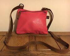 White Stuff Designer 100% Leather Pink Cross X Body Bag Summer Hobo Holiday Vgc