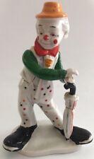 Vintage Shiah Yih Clown Figurine Hobo Multi Colored Polka Dots Umbrella It/277