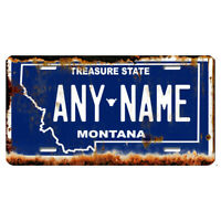 US Metal License Plate - Montana V2 Rusted, Personalise your own plate