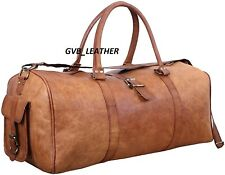 """Men's Leather 24"""" Lots Of Space Large Vintage Duffel Travel Gym Overnight Bag"""