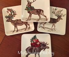 NIB Pottery Barn S/4 ~SILLY STAG~ APPETIZER Plates ~YULETIDE~ Christmas Alpine