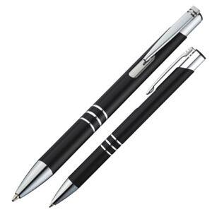 10 Kugelschreiber aus Metall / Farbe: schwarz