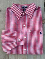 Polo Jeans Co. Ralph Lauren USA Men's Shirt Plaid Red & Gray Shirt Size XL