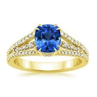14K Solid Yellow Gold Natural Diamond 1.75 Ct Blue Sapphire Engagement Ring Size