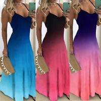 Women Strappy Gradient Summer Casual Long Maxi Dress Beach Sleeveless Sun Dress