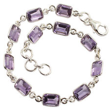 Solid 925 Sterling Silver Jewellery Natural AMETHYST Gemstones Bracelet 8 Inches