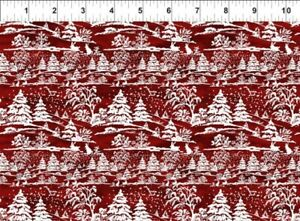 In The Beginning A Poinsettia Winter - Digital 6APW1 Red Winter Trees  Cotton
