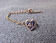 Antique blue enamel gold filled number 41 heart shaped miniature pin w/ chain