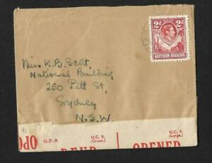 N.RHODESIA, WW11 KGV1 CENSORED COVER TO AUSTRALIA, SMALL COVER, S.AFRICAN CENSOR