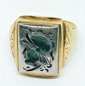 Gold RING Hematite Roman  Soldier 10K 9 3/4 7.4G 99.99 START NR