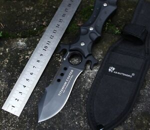 Tactical Survival Fixed Blade Titanium Coated Pocket Hunting Military Knife EDC