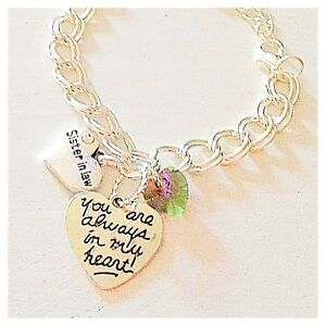 Sister in Law Silver Custom Charm Bracelet 'You Are Always in My Heart' Jewelry