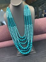 """Aqua Turquoise ombre  Beaded 7 Strand Lucite Beaded Necklace Ling Statement 34"""""""