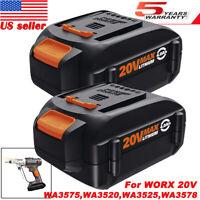 2X WA3578 For WORX WA3575 20V MAX 4.0Ah Replacement Battery WA3520 WA3525 WG163