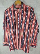 Vintage 60s Mira-Press Americana Rockabilly USA Flag Stars & Stripes Shirt M