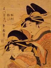 Pintura Dibujo de Kitagawa Matsura yosoi Japón Geisha Antiguo Art Print CC1112