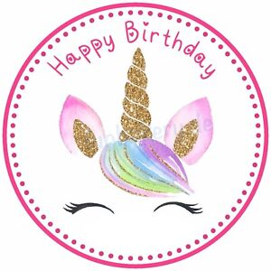 Einhorn eßbar Muffin-Aufleger Torten-bild Party Deko Geburtstag Unicorn rosa neu