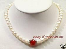 cadeau d'anniversaire ! 7-8mm,blanc,perles d'eau douce, rouge, jade,collier,43cm