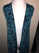 LulaRoe Joy Vest XS Black and Teal Floral Silk UNICORN