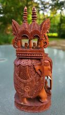 """AMAZING~Hand Carved Wooden India/Asia Elephant with Riders & Carriage~8""""Tall 🐘"""