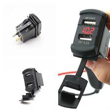 Car Suv Marine Boat Red LED Voltmeter Detection Dual USB Port Charger Jack Style