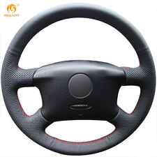 Durable Black Leather Steering Wheel Cover for Volkswagen Passat B5 VW Golf 4