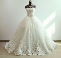 White/Ivory Lace Wedding Dress Bridal Gown Custom Size 4 6 8 10 12 14 16 18 ++